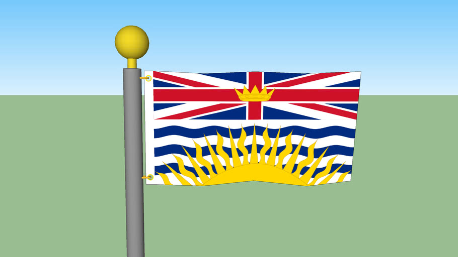 British Columbia flag with Flagpole