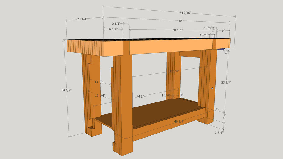 Dovetailed Roubo Woodworking Workbench