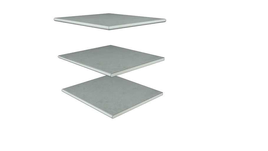 Silver Grey Porcelain Step 596 × 500 with  20mm Bullnose Edge