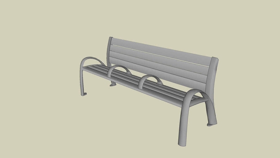 Forms+Surfaces® Camber™ Bench, 6 foot, extruded aluminum slats, two armrests