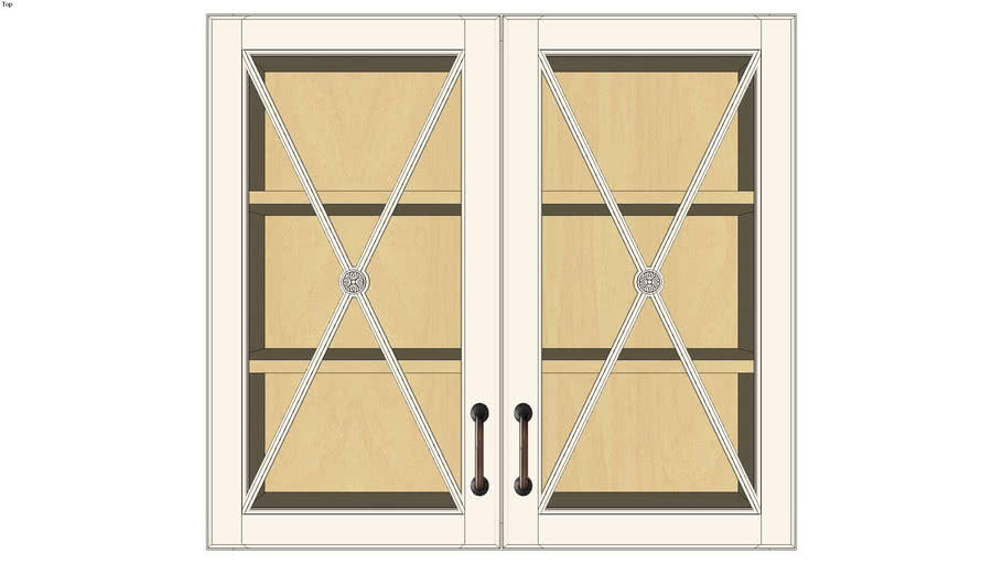Wall Double Door 30H with Classic Mullion Antiquity Glass Insert