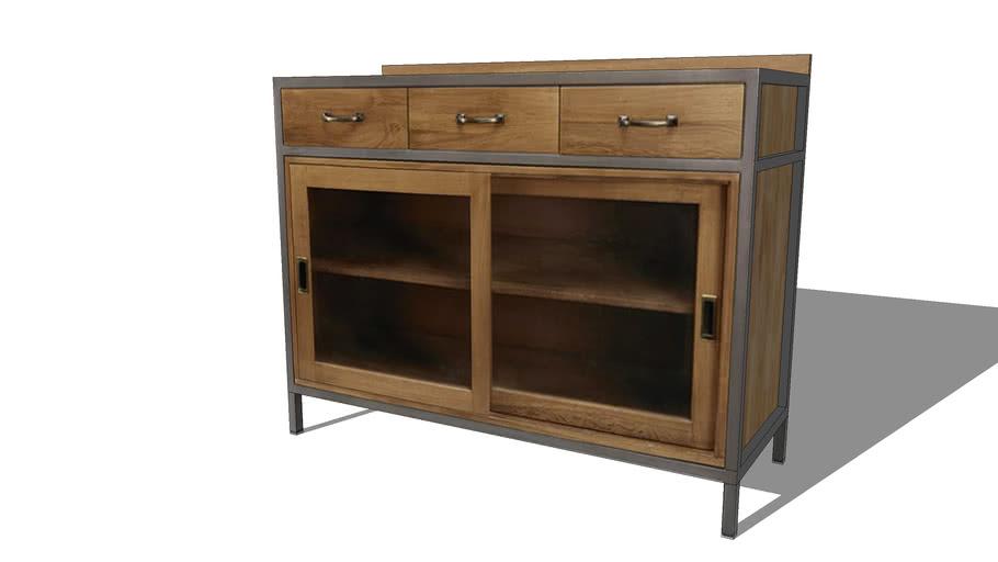 HIPSTER Buffet vitré 2 portes 3 tiroirs en chêne et métal REF 165833 PRIX 599.00€
