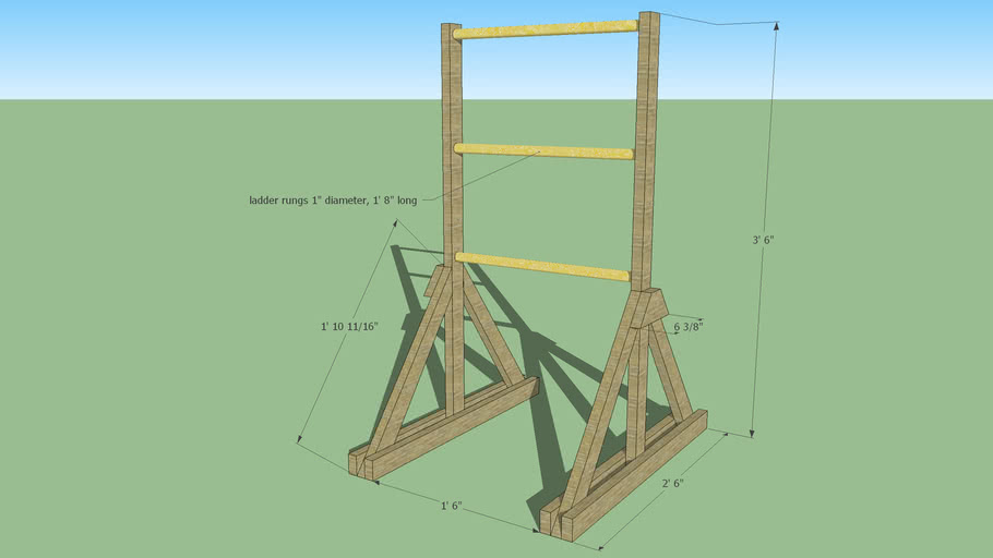 3D Wooden Ladder Golf Model