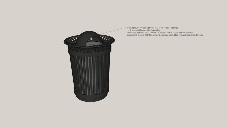 RB-36 Steelsites™ RB 36-Gallon Litter Receptacle with Spherical Dome Lid and Liner