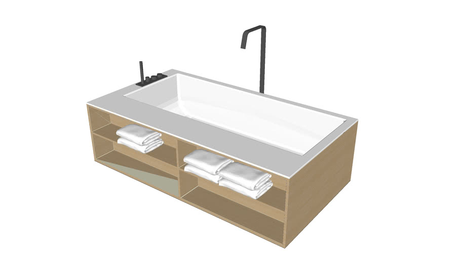 simple design bathtub with wooden