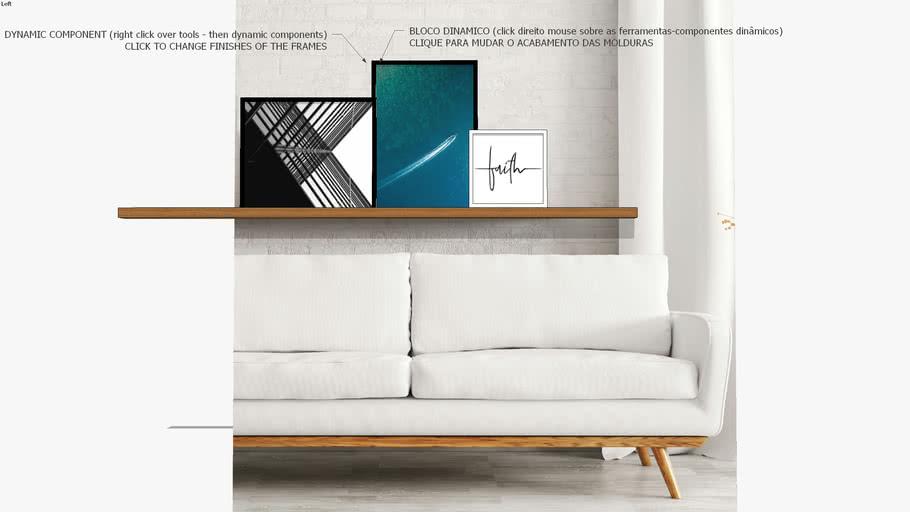 Composição com 3 quadros decorativos cidade, mar e fé, Coleção assinada: Paola Cury