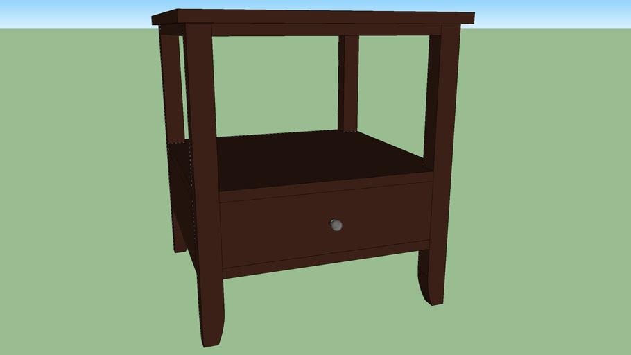 Dark Wooden End Table with lower drawer