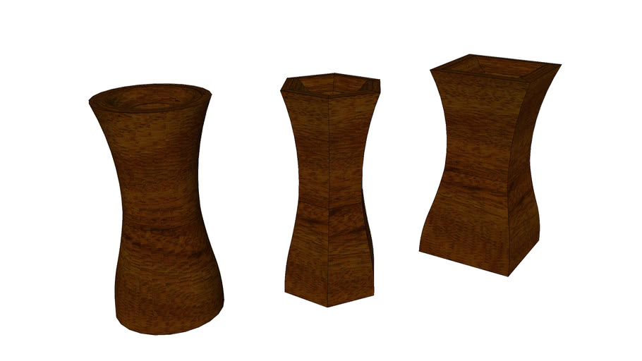 carved wooden flower vase mahogany