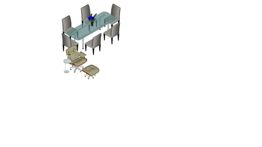 Rest chair and glass table with chairs