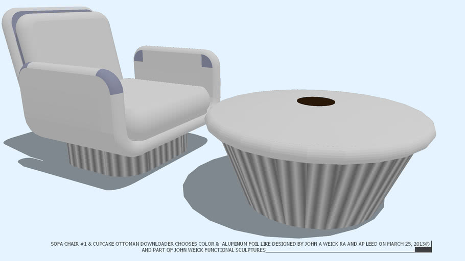CHAIR CLUB AND CUPCAKE OTTOMAN NO COLOR ALUM BASE BY JOHN A WEICK RA