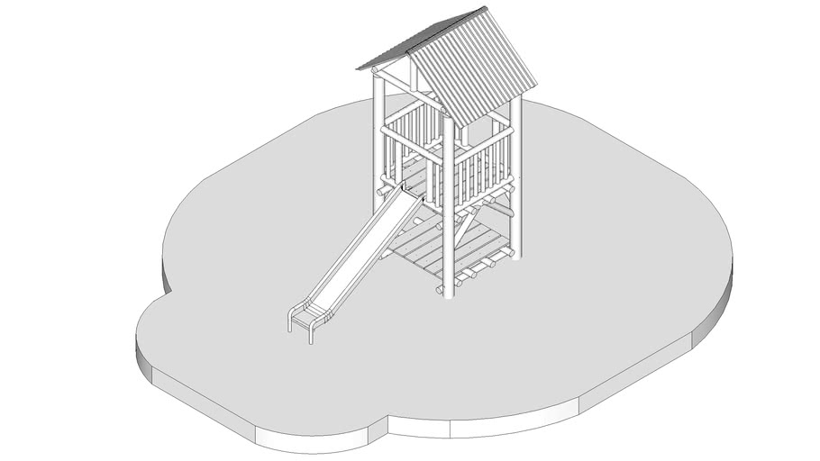 Cubby House and Slide with Sides