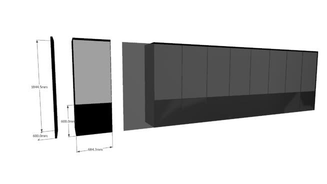 Details for portrait type cabinet videowall