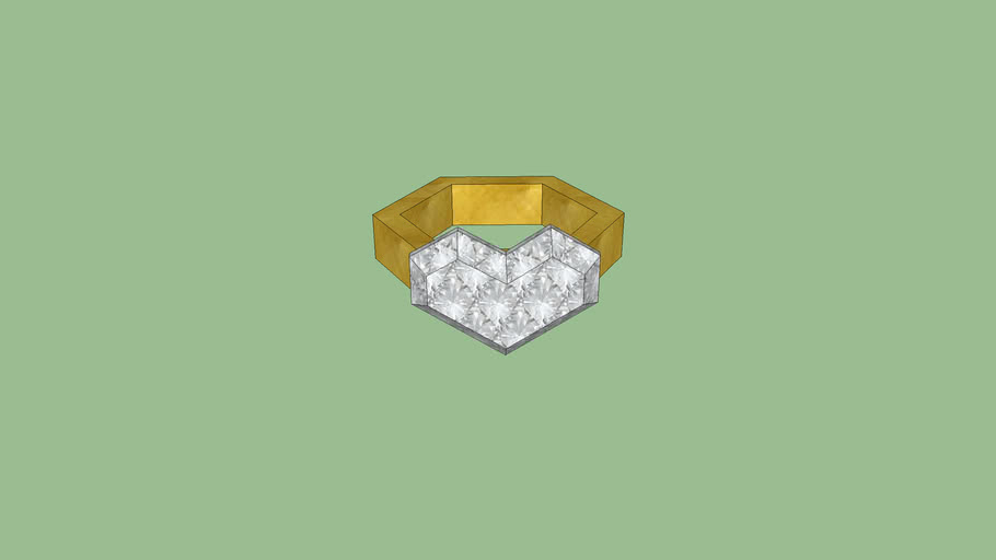Heart Shaped Diamond Ring low poly