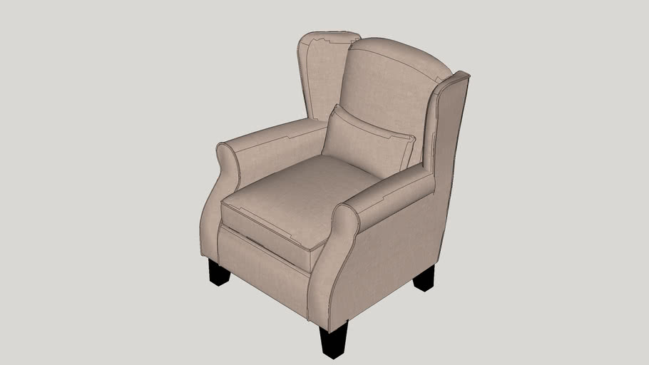 Schiller Solid Dobby Wingback Arm Chair