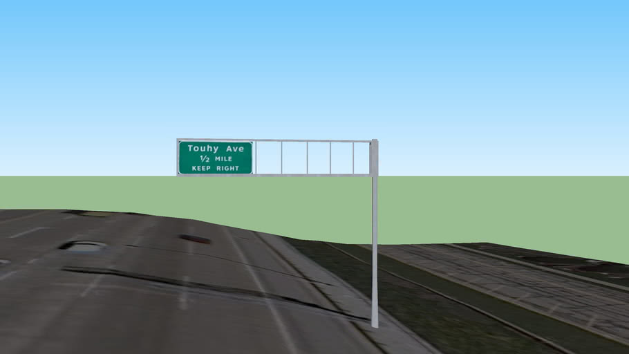 I-294 Guide Signs: Touhy Avenue 1/2 Mile Keep Right