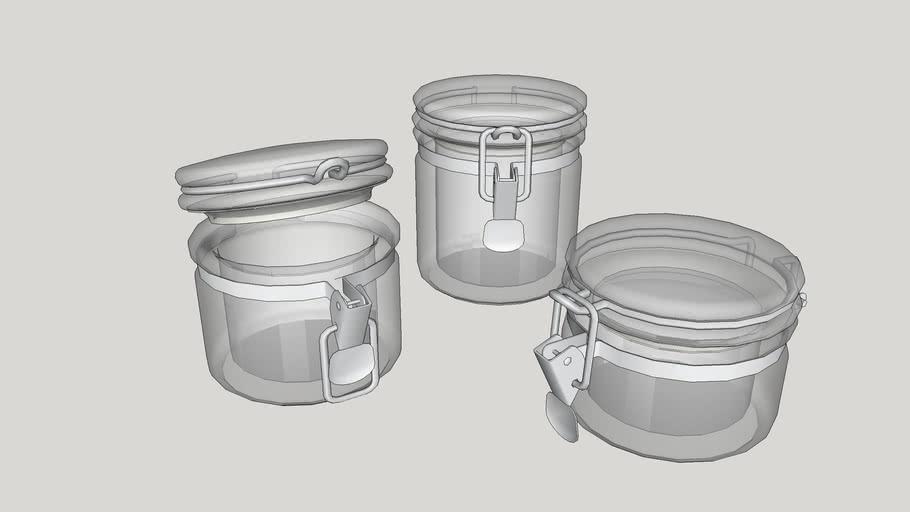 Utensílios de cozinha - Potes de vidro com tampa hermética