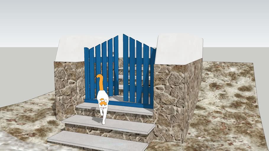 Greek wooden gate
