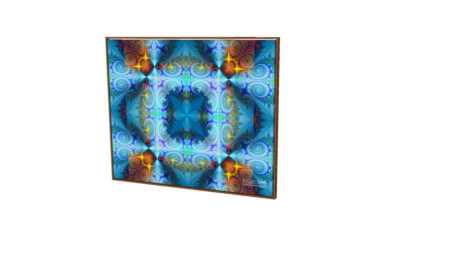quadro - Equilíbrio Azul Turquesa - Série Fractais - Raquel lima - painel 1,20m x 1m