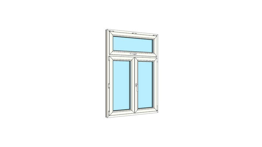 Окно штульповое двухстворчатое с одинарной верхней фрамугой VEKA Softline 82