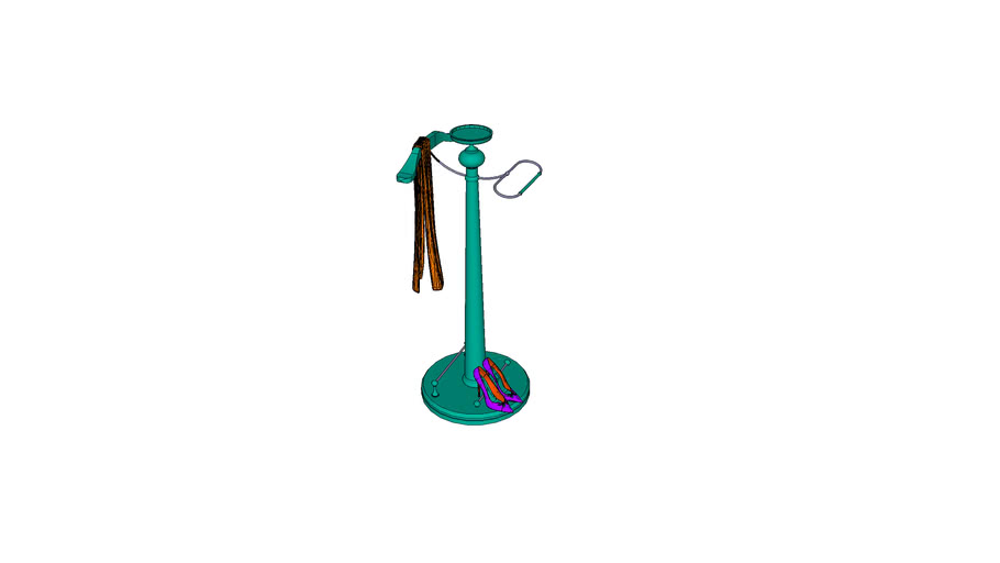 clothes hanger with scarf and shoes
