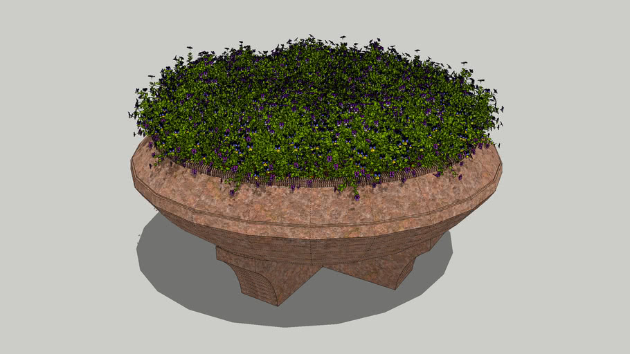 Flowers in a round planter