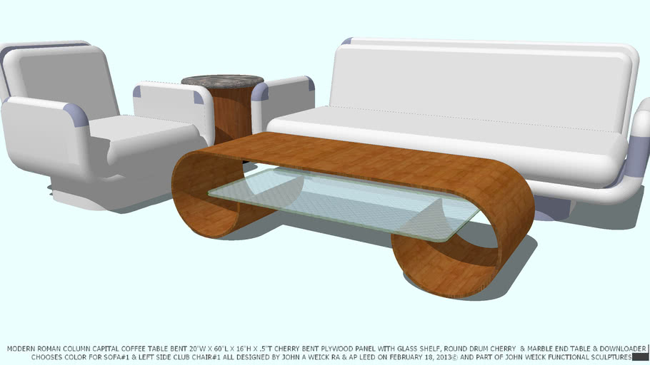 CHOOSE COLOR SOFA CHAIR ROMAN CAPITAL COFFEE TABLE BY JOHN A WEICK