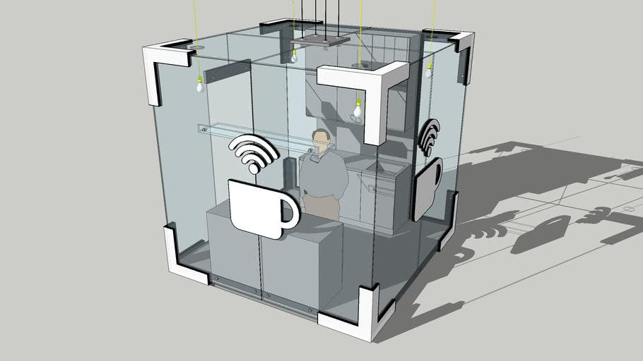 Cubic coffee kiosk