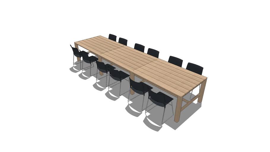 Cafe Table Scenario - Rectangular Table Seating 12