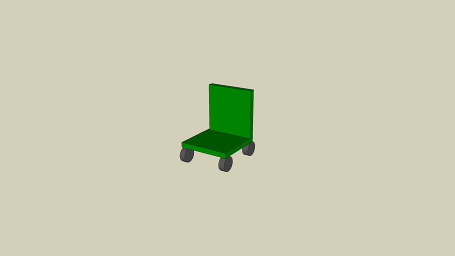 Green Chair with Wheels