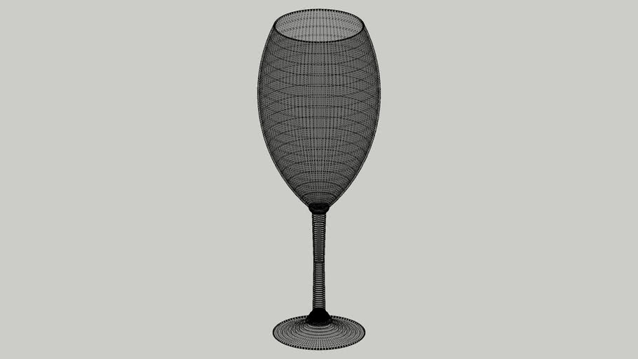 High poly wine glass with Vray material