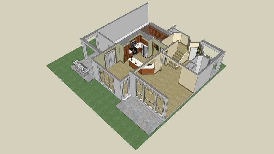 3D Kitchen Model of Plan 22138A from Alan Mascord Design Associates