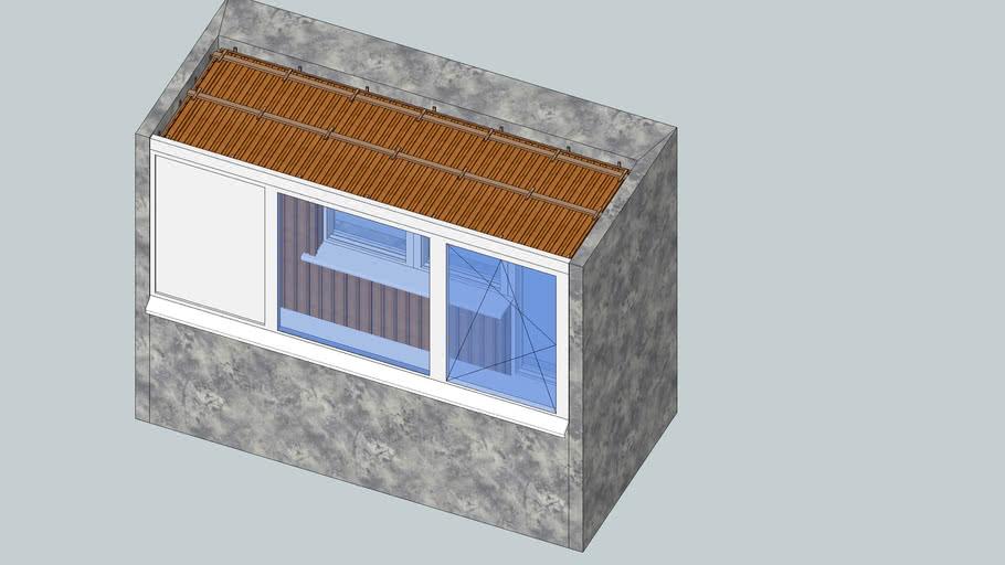 Балкон 100х300х250, облицовка вагонкой