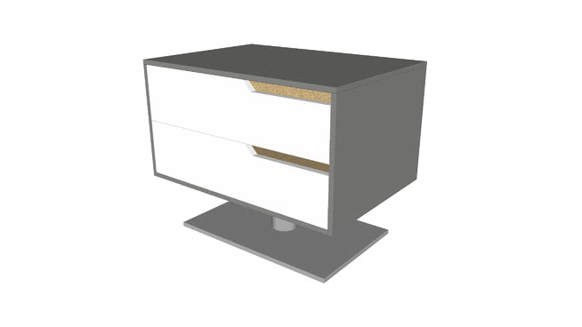 Park Left-Facing Nightstand in Steeple Gray and White in Glossy White by Modloft