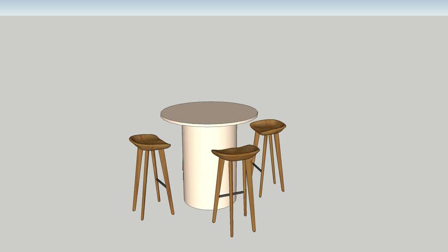 Round Bar Leaner & Palm Stool