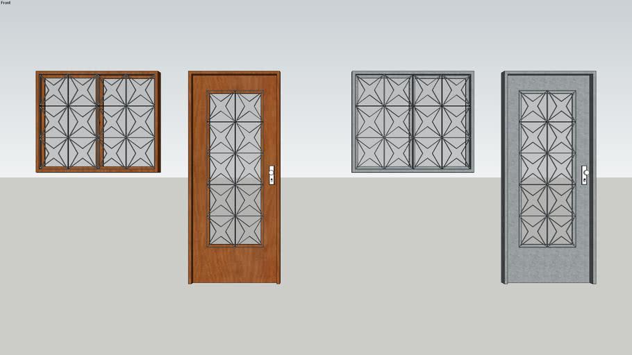porta e janela com grade