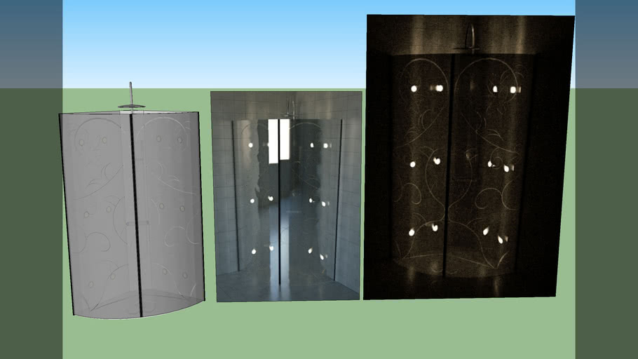Shower corner whit decoration glass doors