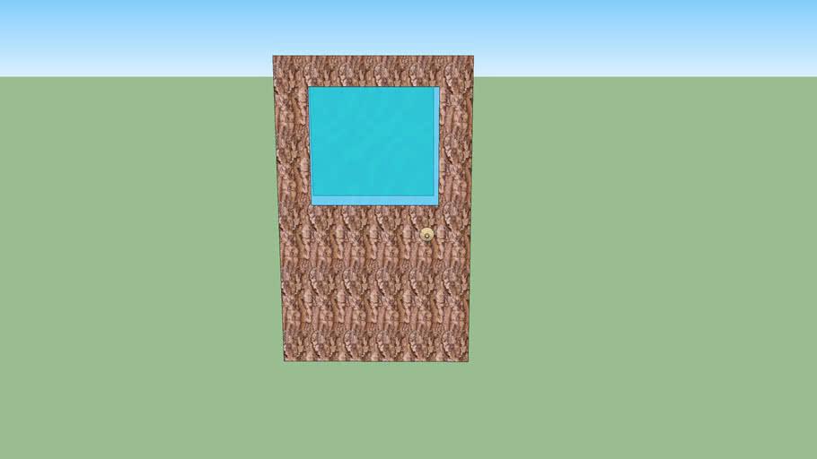porte écologique en écorse avec détails de la poignée