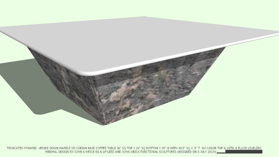 COFFEE TABLE TRUNCATED PYRAMID MARBLE 48 NO COLOR TOP BY JOHN A WEICK RA