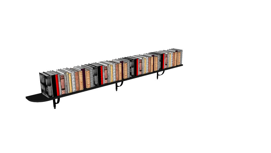 Long Bookshelf with books