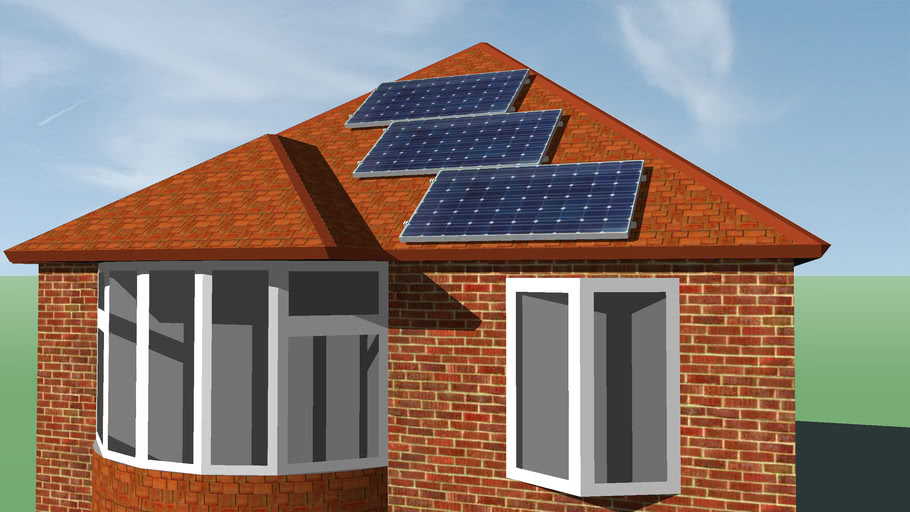 3 Pv Panels On Small House 3d Warehouse
