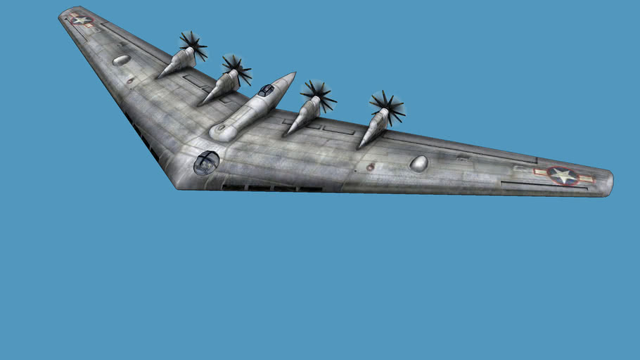 Northrop YB-35 flying wing (low poly)