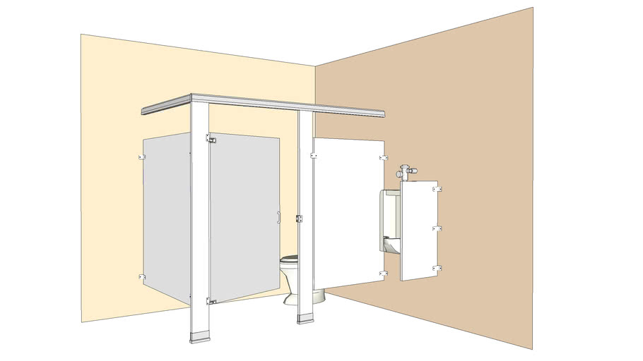 HPL Toilet Partitions - Open Alcove installation, HC w/ Urinal Screen