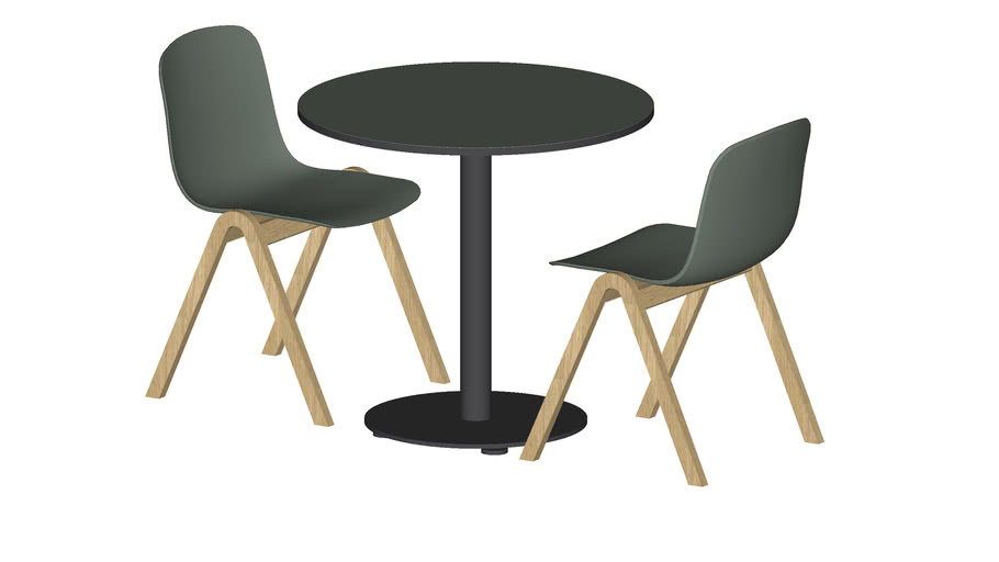 Bank Round Table, Dia 600 mm, Sky Chairs, Wood base