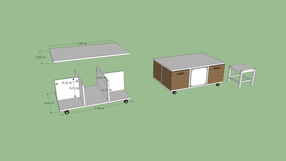 mesa centro com banquetas e caixas, coffe table with stools and boxes