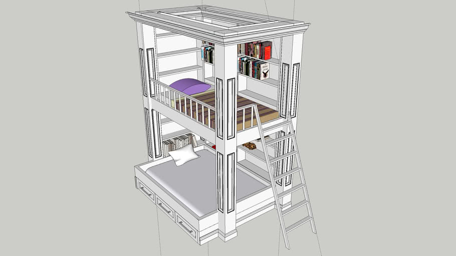 Bunk Bed with Library and Storage