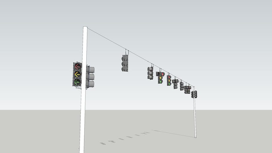 Econolite Buttonback intersection wired traffic signals.
