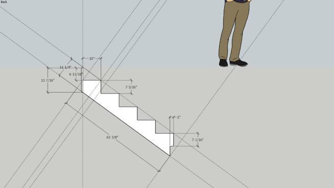 Stair stringer upper basement 451 | 3D Warehouse