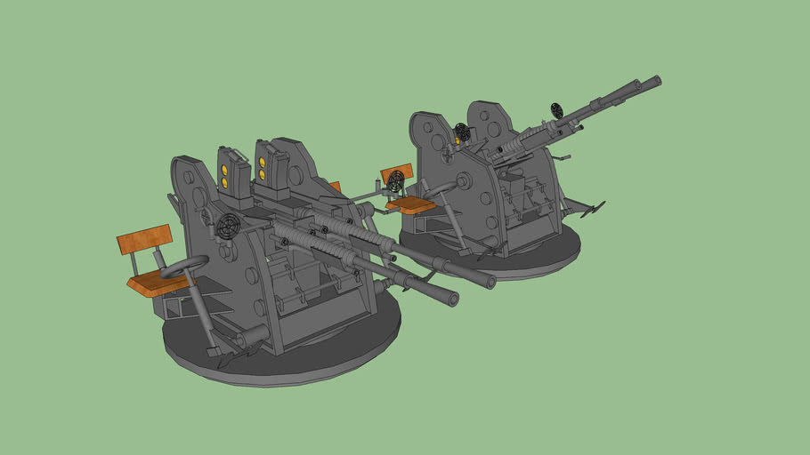 Type 96 25 mm twin AT/AA Gun (Ver.2) / 九六式二十五粍高角機銃 二連装 (Ver.2)