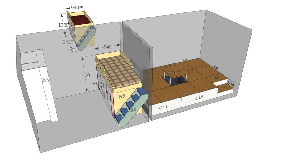 20130422 和式架高地板 架高兒童床