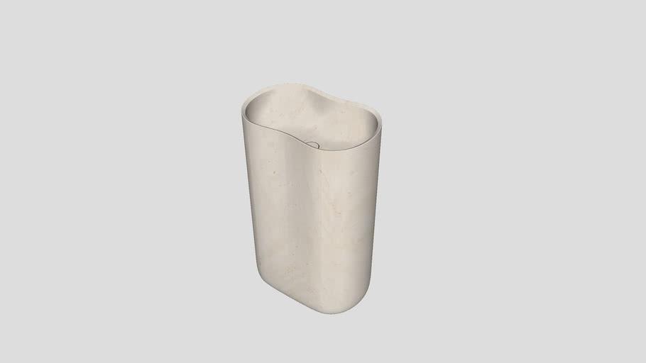 Anima | Freestanding basin in Crema d'Orcia limestone | 56x37xH90cm | Salvatori
